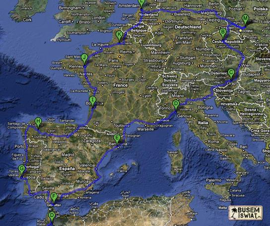 Europa 2010 - planowana trasa